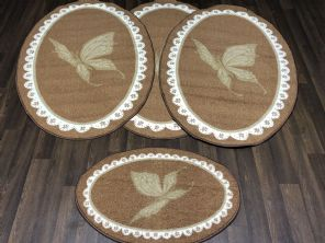 Non Slip Washable Gypsy Romany Travellers/ Mats Sets 4Pc Oval Butterflys More Colours Available (2) (4)